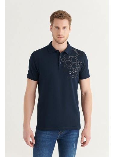 Avva Erkek Polo Yaka Pano Baskılı T-Shirt A11Y1149 Lacivert